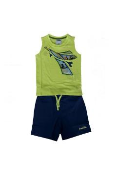Diadora 102.177120 JB Set SL Logo Elements Junior Unisex Verde Lime Abbigliamento Bambino 10217712070321