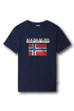 Napapijri NA4F7C S-Surf FLAG SS T-Shirt Uomo in Cotone Blu Marine T-Shirts NA4F7CB