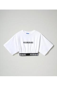 Napapijri NA4FCO S-Box Cropped Wide T-Shirt Corta con Elastico Logato Bianco T-Shirt & Top NA4FCO0021