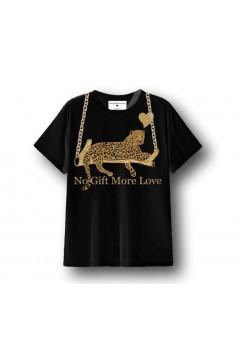 NO GIFT MORE LOVE WTS076 T-Shirt Donna Cotone Regular Nero T-Shirt & Top WTS076NR