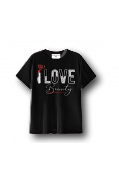 NO GIFT MORE LOVE WTS083 T-Shirt Donna Cotone Nero T-Shirt & Top WTS083NR