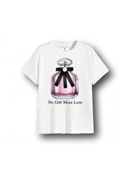 NO GIFT MORE LOVE WTS068 T-Shirt Donna Cotone con Accessorio Bianco T-Shirt & Top WTS068BIA