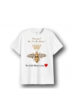 NO GIFT MORE LOVE WTS073 T-Shirt Donna Cotone Ape Regina Bianco T-Shirt & Top WTS073BIA