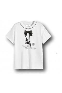 NO GIFT MORE LOVE WTS084 T-Shirt Donna Cotone con Accessorio Bianco T-Shirt & Top WTS084BIA