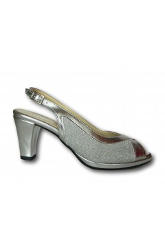 Pharma Shoes 7338 Scarpe Donna Decollette Tallone e Punta Aperti Tacco Medio Argento Decoltè PS7338ARG