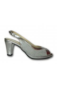 Pharma Shoes 7338 Scarpe Donna Decollette Tallone e Punta Aperti Tacco Medio Argento Decoltè PS7338ARG