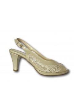 Pharma Shoes 4305 Scarpe Donna Decollette Tallone e Punta Aperti Tacco Medio Beige Decoltè PS4305BG