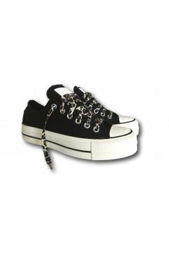 Converse 570773C Chuck Taylor Lift All Star Sneakers Low Platform Canvas Nero Animalieur Francesine e Sneakers 570773C
