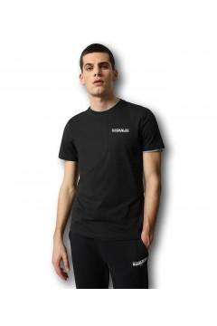 Napapijri NA4F7F S-Surf SS T-Shirt Uomo in Cotone Nero T-Shirts NA4F7F0411