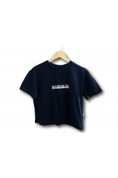Napapijri NA4EYZ S-Box W Cropped T-Shirt Corta a Manica Corta Donna in Cotone Blu T-Shirt & Top NA4EYZ1761