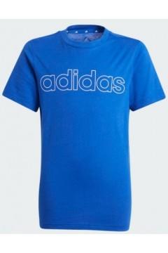 Adidas GN4011 B LIN T T-Shirt Bambino Blu Abbigliamento Bambina GN4011