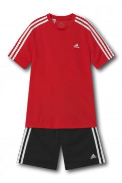 ADIDAS GN1493 Set Completino Tshirt + Pantaloncini 3S Rosso Abbigliamento Bambino GN1493