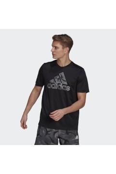 Adidas GP2659 Areoready T-Shirt Grafica con Logo Camouflage Nero T-Shirts GP2659