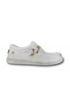 ROCCOBAROCCO RB318.7 Scarpe Uomo Mocassini Slip On Canvas Bianco Sneakers RB3187BIA