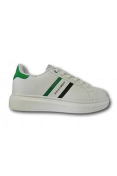 Solo Soprani QS20 Scarpe Uomo Sneakers Stringate Bianco Verde Sneakers SSQS20BV