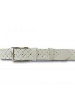 Made in Italy 035 Cintura Intrecciata Uomo 3,5 cm in Vera Pelle Bianco Cinture CTU035BNC