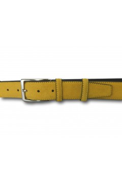 Made in Italy 035 Cintura Camoscio Uomo 3,5 cm in Vera Pelle Giallo Cinture CTU035GLO