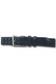 Made in Italy 035 Cintura Intrecciata Uomo 3,5 cm in Vera Pelle Blu Cinture CNT035BLU