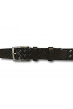 Made in Italy 035 Cintura Intrecciata Uomo 3,5 cm in Vera Pelle Marrone Cinture CTU035MRN
