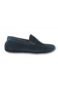 Akeis 601 Scarpe Uomo Mocassini Car Shoes Suede Blu Avio Mocassini A601BAV