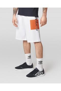 Umbro RAP268B Pantaloncini Uomo con Stampa Geometrica in Cotone Garzato Bianco Pantaloni e Shorts RAP268BBIA